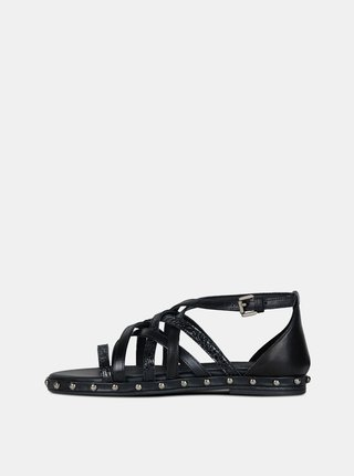 Černé dámské kožené sandály Geox Kolleen