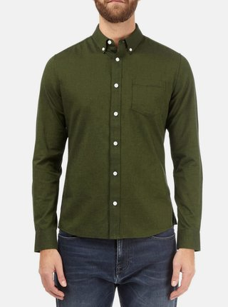 Camasa verde inchis skinny fit cu buzunar Burton Menswear London