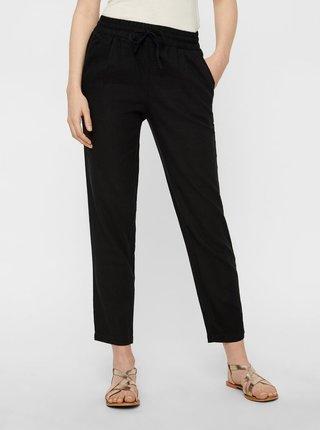 Čierne ľanové nohavice s vysokým pásom VERO MODA Anna