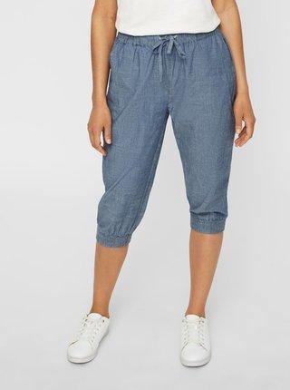 Modré 3/4 nohavice s vysokým pásom VERO MODA Emilia