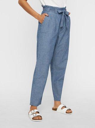 Modré skrátené nohavice s vysokým pásom VERO MODA Emily