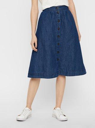 Tmavomodrá rifľová sukňa s gombíkmi VERO MODA Flavia