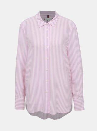 Rúžová dámska pruhovaná košile Tommy Hilfiger Fleur