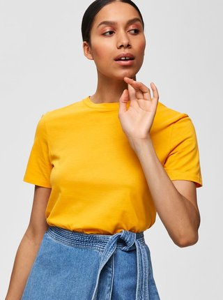 Tricou basic galben Selected Femme My Perfect