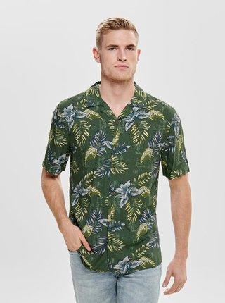 Zelená květovaná regular fit košile ONLY & SONS Thomas