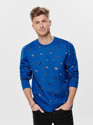 Bluza sport albastra cu model ONLY & SONS Owers