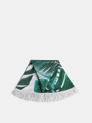 Zelená kulatá vzorovaná plážová deka Haily´s Palmleaf