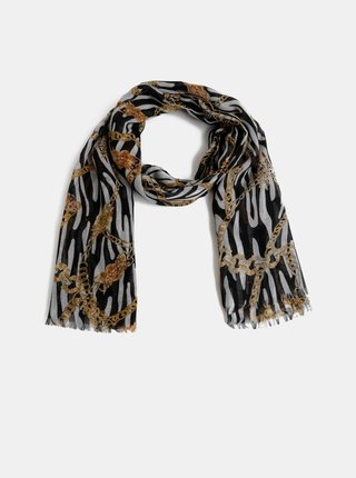 Hnědo-černý dámský vzorovaný šátek Haily´s Chain