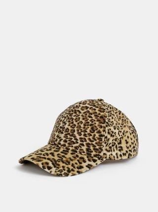 Hnědá dámská kšiltovka v semišové úpravě s leopardím vzorem Haily´s Laila