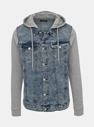 Modrá pánská džínová bunda s mikinovými rukávy Haily´s Flynn