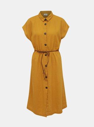 Horčicové ľanové košeľové šaty Jacqueline de Yong Kalifa