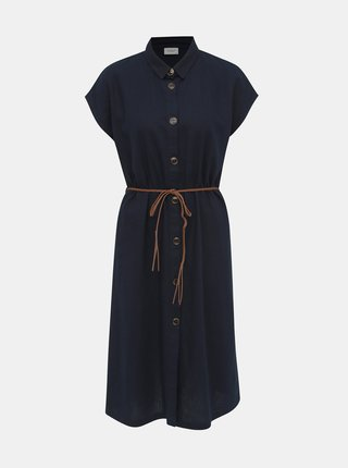 Tmavomodré ľanvé košeľové šaty Jacqueline de Yong Kalifa