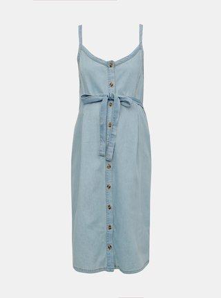 db193b0128 Svetlomodré rifľové tehotenské šaty Mama.licious