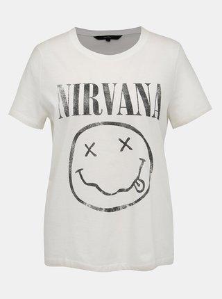 Biele tričko s potlačou VERO MODA Nirvana