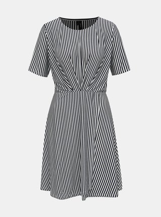 Bielo-čierne pruhované šaty s prekládanou sukňou VERO MODA Ava