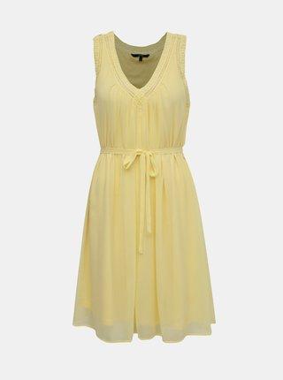 Žlté šaty s krajkovým lemom VERO MODA Enjoy