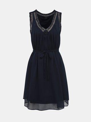 Tmavomodré šaty s krajkovým lemom VERO MODA Enjoy