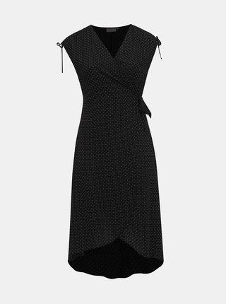 Čierne bodkované zavinovacie šaty ONLY CARMAKOMA Taylor