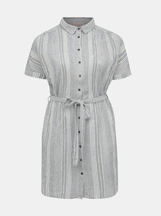 Světle šedé pruhované košilové šaty ONLY CARMAKOMA Naomi