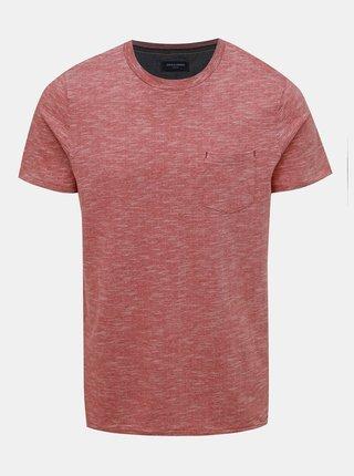 Červené  žíhané tričko Jack & Jones Paxon