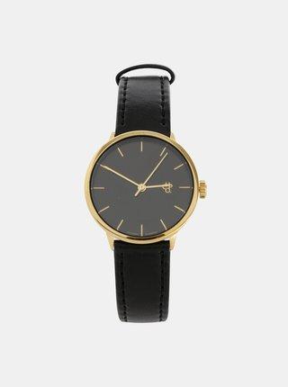 Dámské hodinky s černým páskem z veganské kůže CHPO Khorshid mini