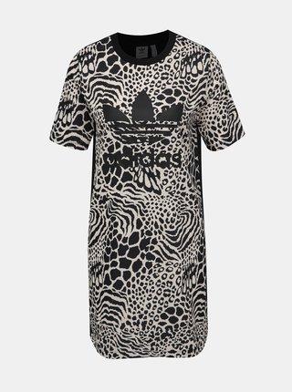 Čierno-krémové šaty s gepardím vzorom adidas Originals
