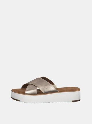 Hnědé metalické kožené pantofle na platformě Tamaris