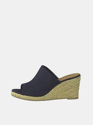 Tmavě modré pantofle na klínku v semišové úpravě Tamaris