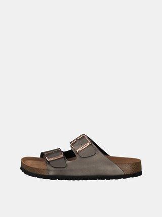 Tmavě šedé pantofle s metalickým efektem Tamaris