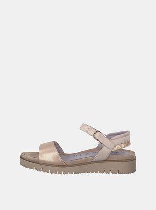 Světle růžové třpytivé kožené sandály Tamaris