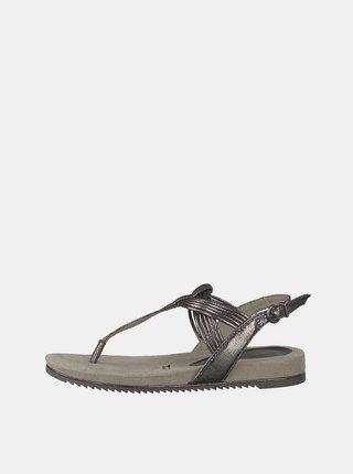 Tmavě šedé třpytivé sandály Tamaris
