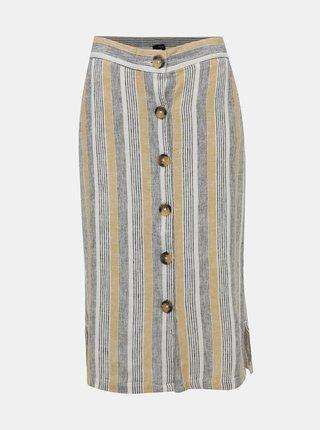 Krémovo-béžová pruhovaná lněná sukně M&Co