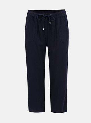 Tmavě modré zkrácené lněné kalhoty M&Co Plus