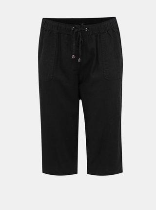 Černé dámské lněné 3/4 kalhoty M&Co Plus