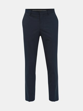 Tmavomodré pruhované slim fit nohavice Selected Homme