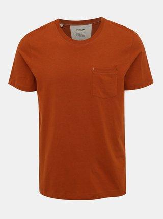Hnědé tričko s kapsou Selected Homme Jared