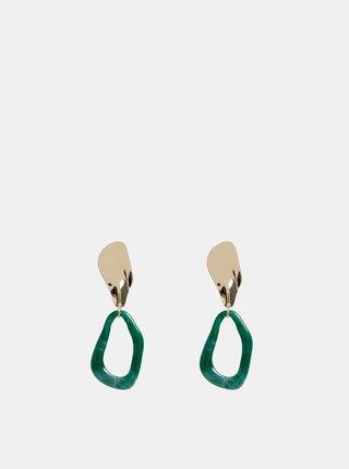 Náušnice ve zlaté a zelené barvě Pieces Alli