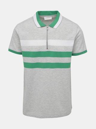 Šedé žíhané polo tričko Lindbergh