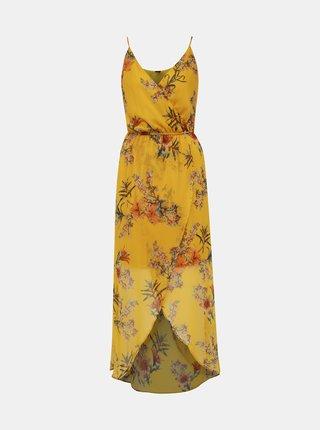 Žlté kvetované maxišaty na ramienka VERO MODA Wonda