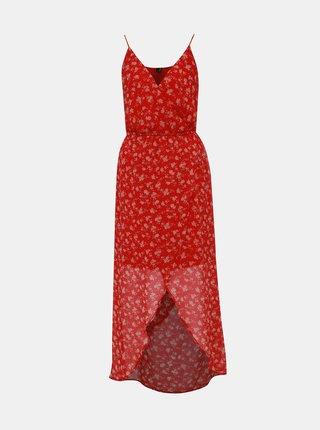 Červené květované maxišaty na ramínka VERO MODA Wonda