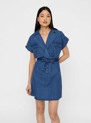 Modré rifľové košeľové šaty Noisy May Vera