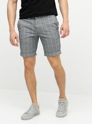 Pantaloni scurti gri in carouri chino straight fit Selected Homme
