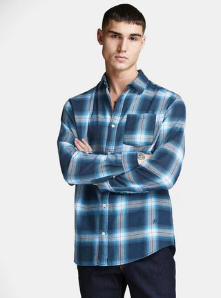 Camasa albastra slim fit in carouri Jack & Jones Nico