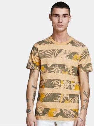 Zeleno-žluté vzorované tričko Jack & Jones Rise