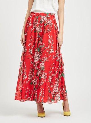 Červená květovaná maxi sukně VILA Esme