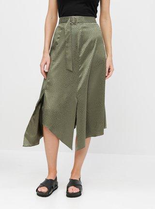 Zelená asymetrická vzorovaná midisukňa Miss Selfridge
