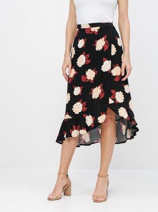 Čierna kvetovaná zavinovacia sukňa Miss Selfridge