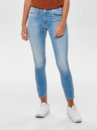 Světle modré zkrácené skinny džíny se zipy ONLY Kendell