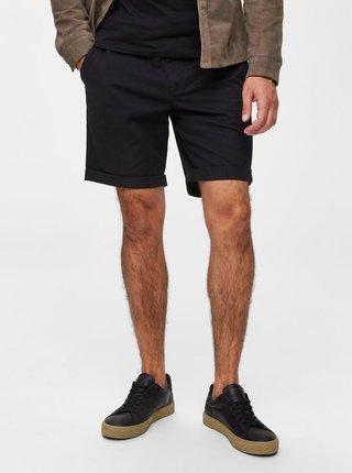 Čierne straight fit kraťasy Selected Homme Paris