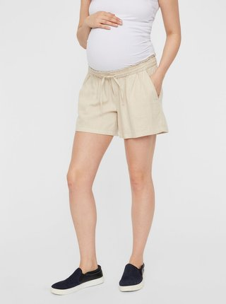 Béžové tehotenské ľanové kraťasy Mama.licious